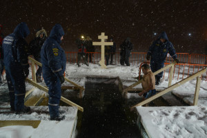police cross orthodox sea epiphany bathing vladivostok winter