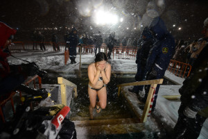 a girl just out of cold sea water of vladivostok