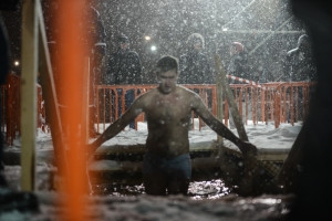 epiphany bathing cold sea water vladivostok