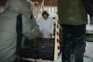 orthodox girl epiphany bathing vladivostok winter
