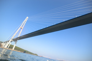 Russky bridge Vladivostok. Harbor cruise in Vladivostok