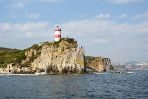lighthouse from a boat in Vladivostok